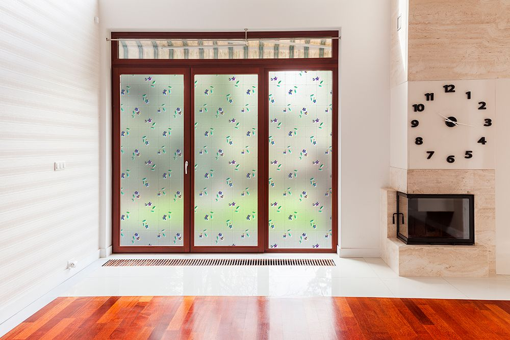 colored floral window film patterned